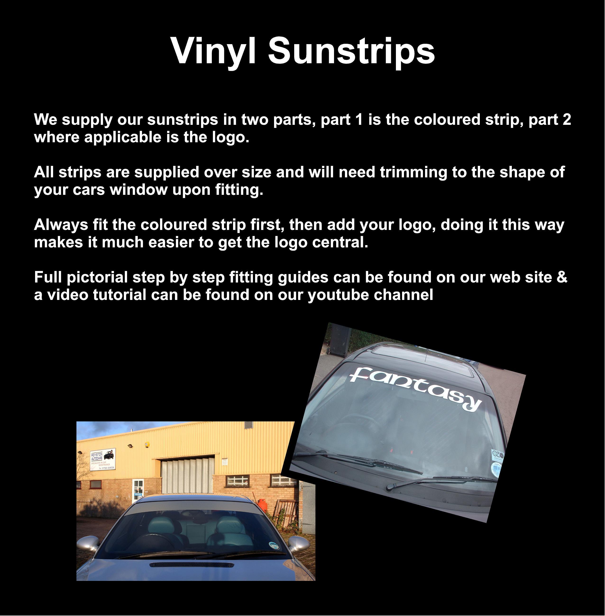 Gloss White Sun Strip visor Racing Banner Touring Car PREMIUM